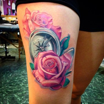 Compass & Pink Roses Tattoo