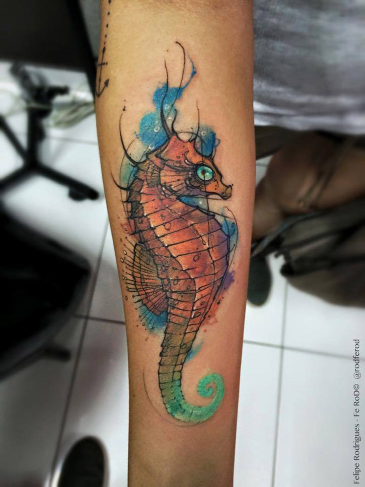 Watercolor Seahorse Best Tattoo Design Ideas