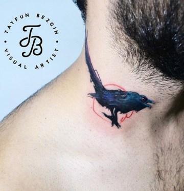 Minimalistic Crow Neck Tattoo