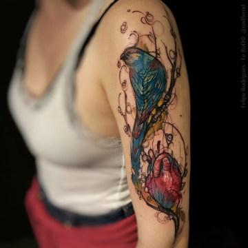 Blue Bird & Heart Tattoo