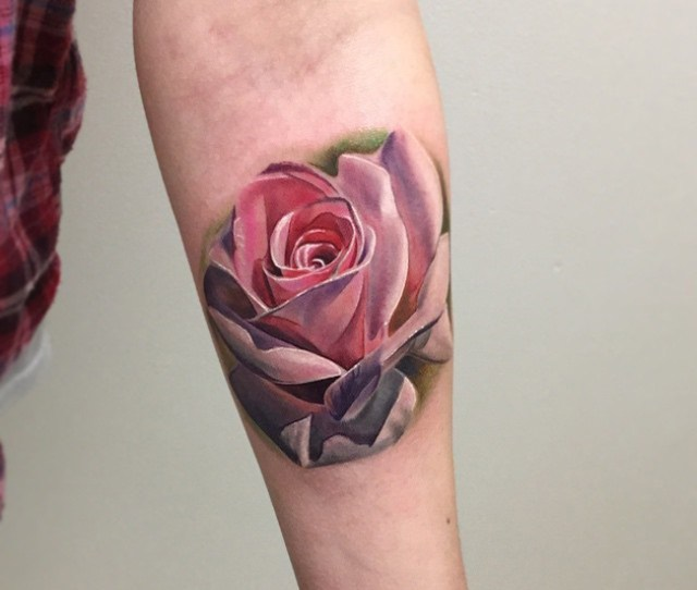 Pink Rose Girls Arm Tattoo Realistic
