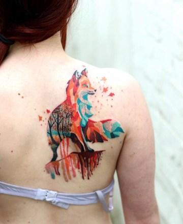 Geometric Fox girls back tattoo