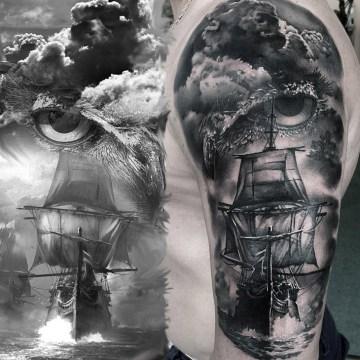 Owl & Sailing Ship Tattoo