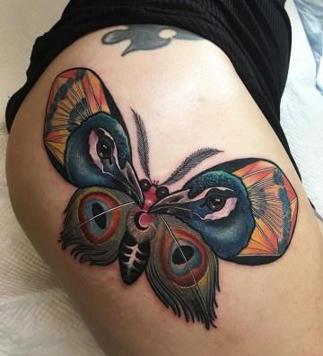 Peacock Moth Hip Tattoo