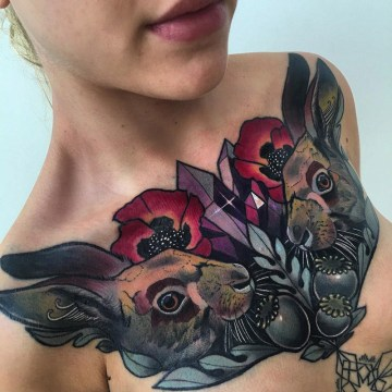 Girls Chest Tattoo, Rabbits and Flowers
