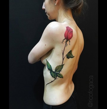 Realistic Red Rose Tattoo