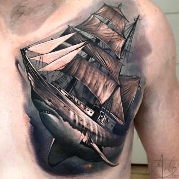 Shark Ship Morph Tattoo