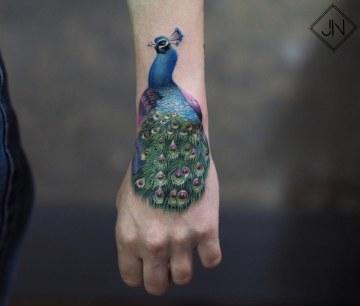 Peacock Hand Tattoo