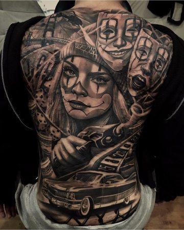 Clown girl crime back tattoo