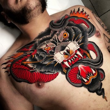 Wolf & Snake Chest tattoo
