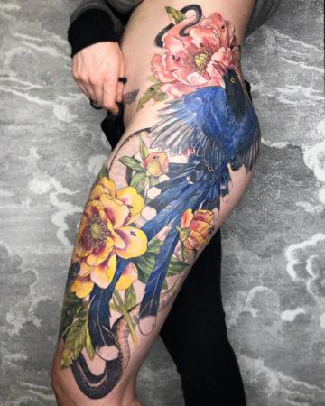 Blue Bird, Snake & Flowers