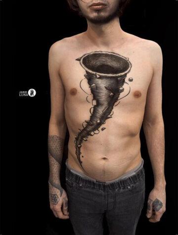 Tornado Chest Tattoo