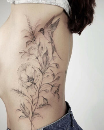 Swallow, Poppies & Wildflowers