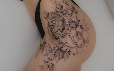 Fairly Hip Tattoo With Tiger & Flowers