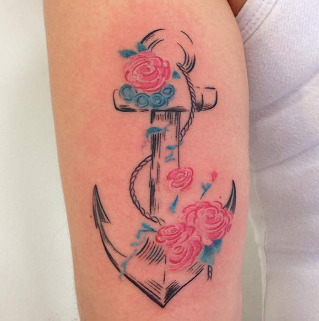 30 Floral Anchor Tattoos For Women TattooBlend