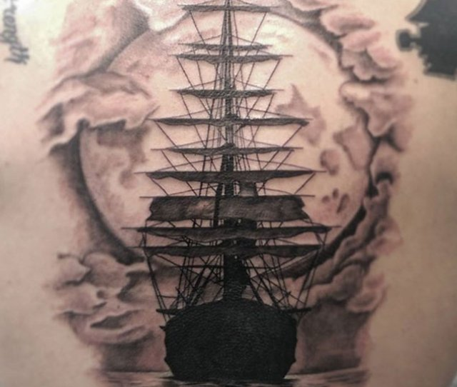 Detailed Ship Tattoo By Makoto