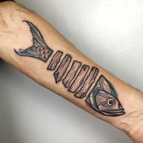 Creative fish tattoo by Luca Testadiferro