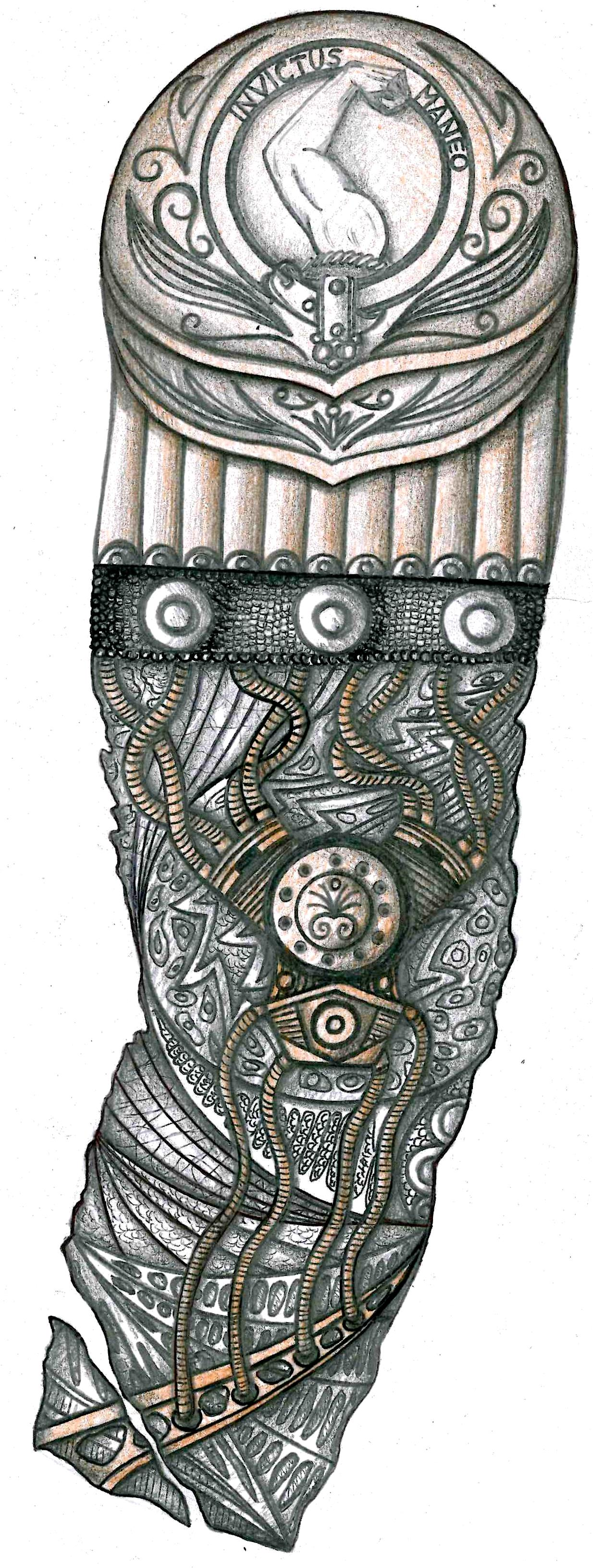 biomech sleeve tattoo design with ancient warrior armour and alien