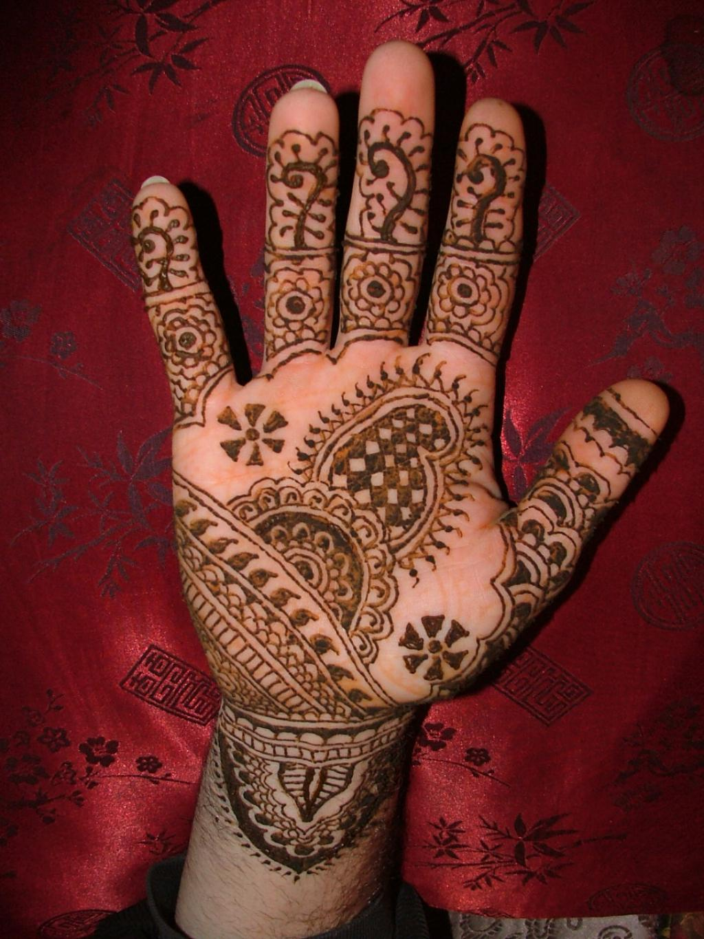 Indian henna hand tattoo design picture