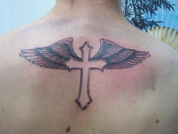 cross with wings tattoo on back Men
