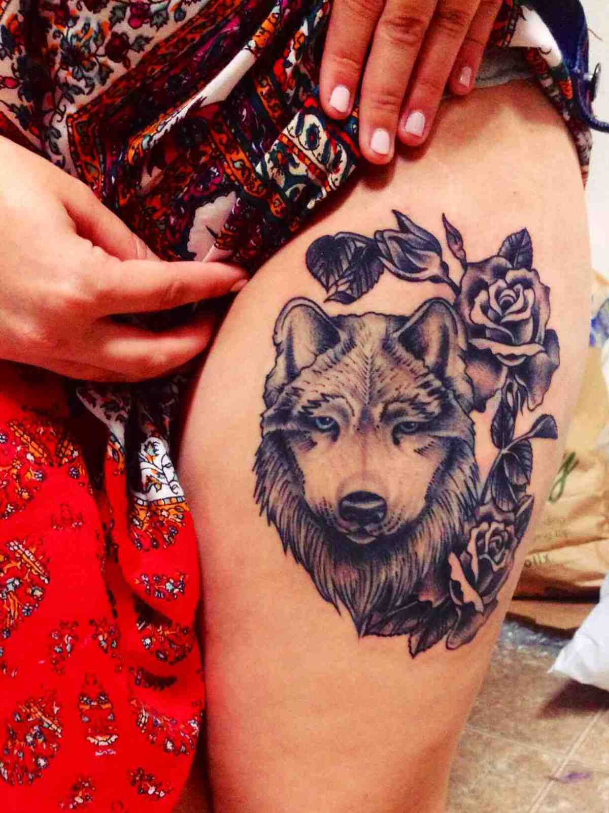 Wolf and roses tattoos