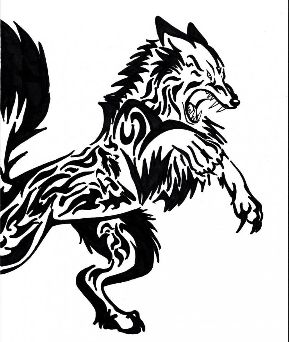 Angry tribal wolf tattoo design