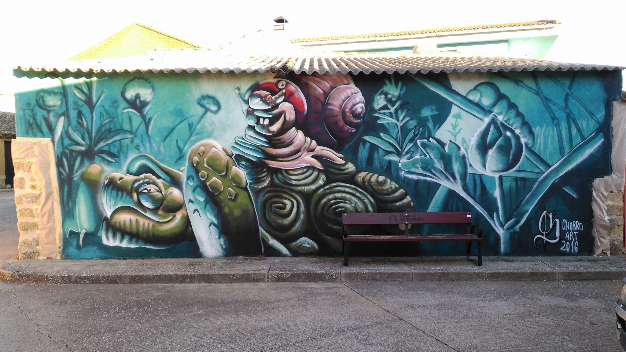 mural naturaleza graffiti animales palencia