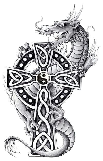 Grey cartoon dragon and celtic cross tattoo design ...