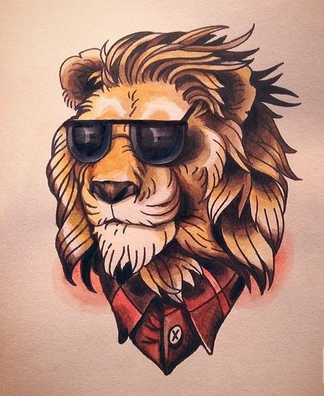 Orange Lion In Red Shirt And Sunglasses Tattoo Design