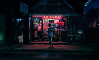 Tattoo Shop at Night