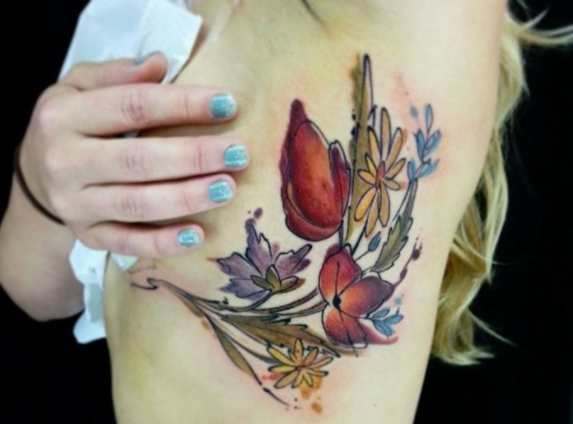 side boob floral tattoo