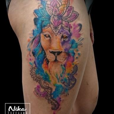 watercolor lion ライオン 水彩