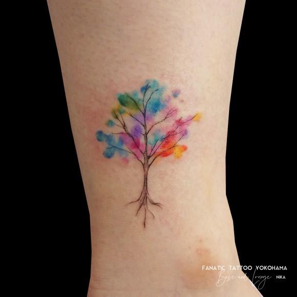 tree watercolor tattoo 水彩 タトゥー