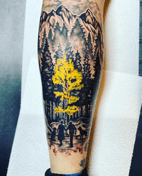 forest silhouette tattoo