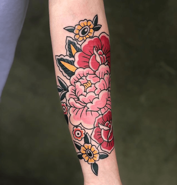 neo traditional rose tattoo