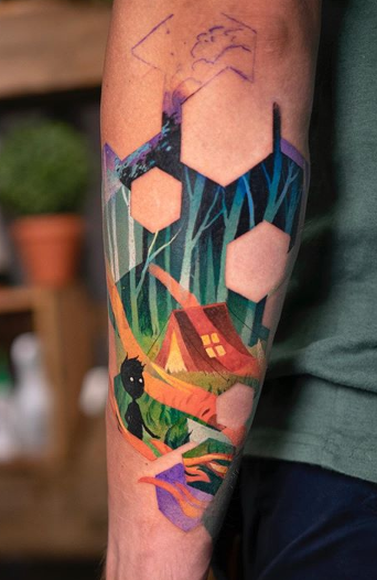 forearm forest tattoo