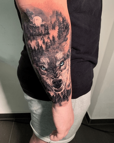 forest sleeve tattoo