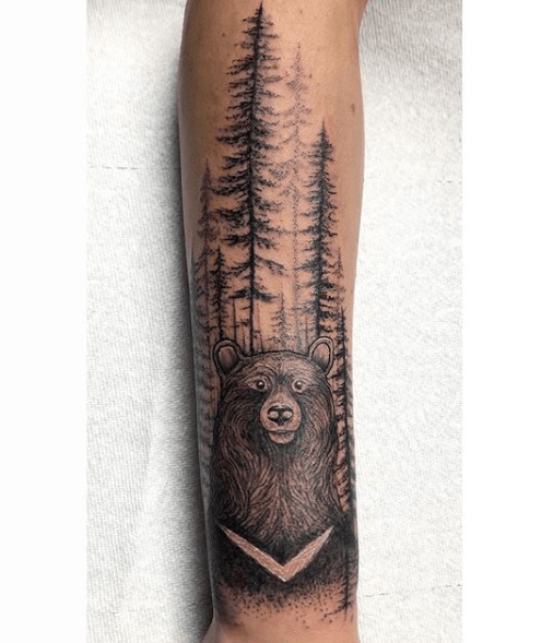 forest silhouette tattoos