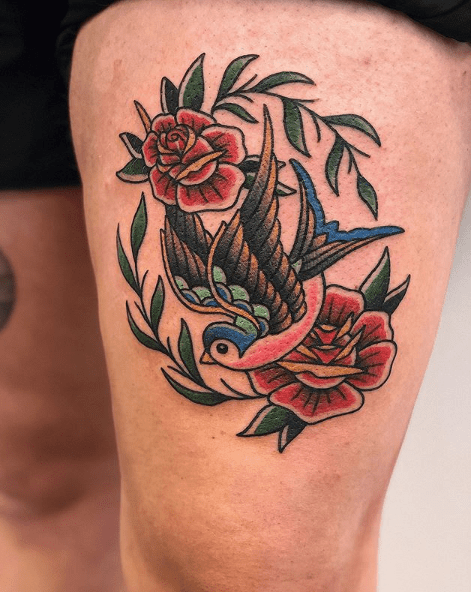 traditional rose leg tattoo