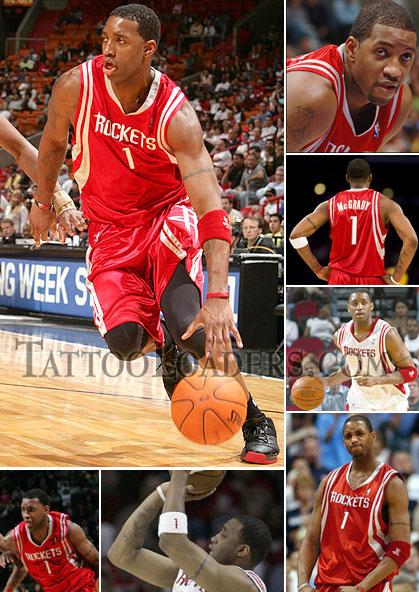 Tracy McGrady has basic NBA Tattoos on his arms but they get a bunch of