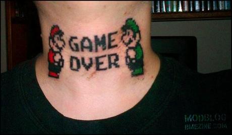 Mario Brothers Tattoo On Neck