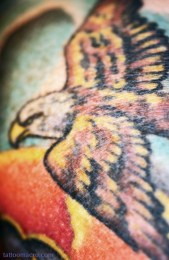 Baer in mind that this eagle is not the focal point of the whole tattoo composition (the Buddha is). This eagle is in the background!