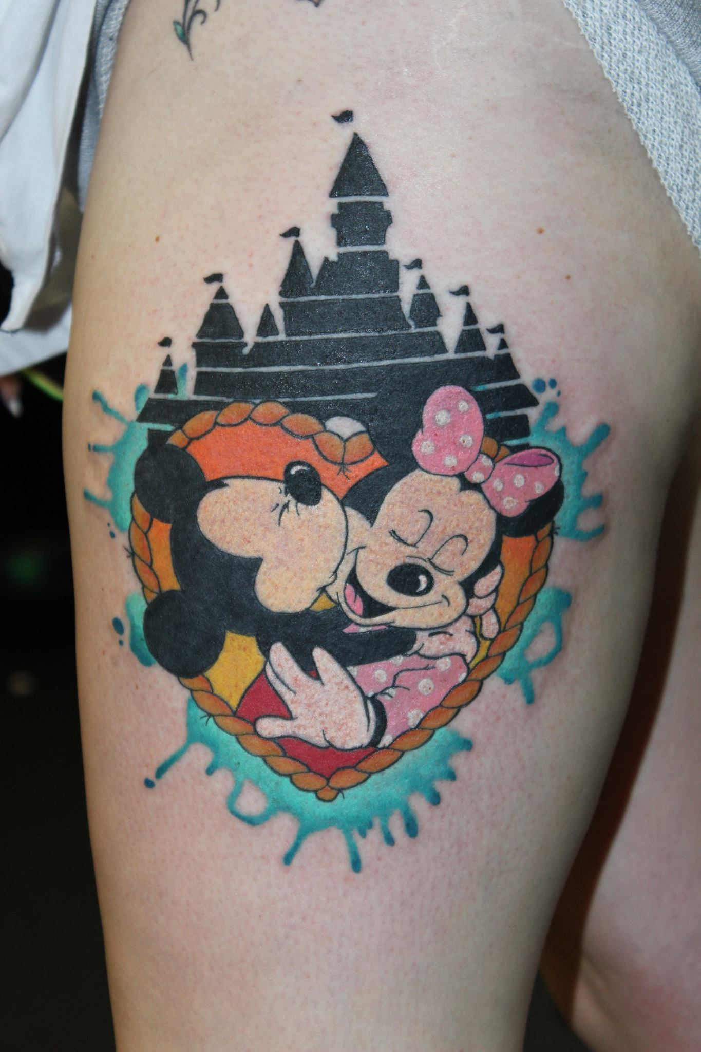 Minnie And Mickey And Disney S Castle Tattoo