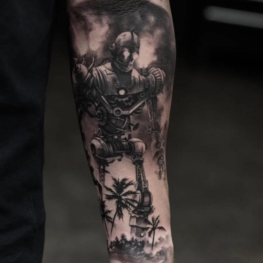 White Tattos Black And Robbot