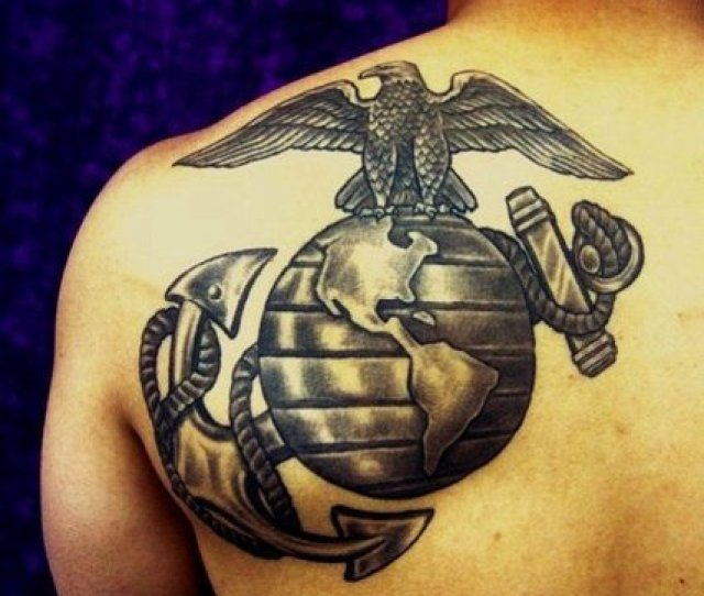 Da Weis Marine Corps Eagle Globe And Anchor Emblem Tattoo