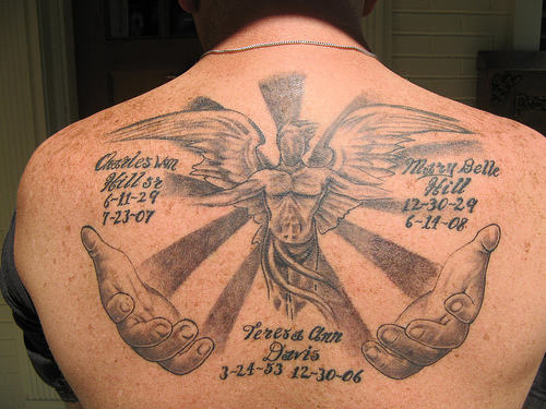 Full Memorial Angel In Loving Memory Tattoo On Back