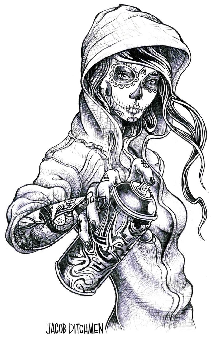 gypsy gangsta girl tattoo design  tattoos book  .000
