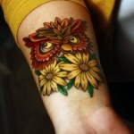 Owl With Yellow Flowers Tattoo On Wrist Tattoos Book 65 000 Tattoos Designs