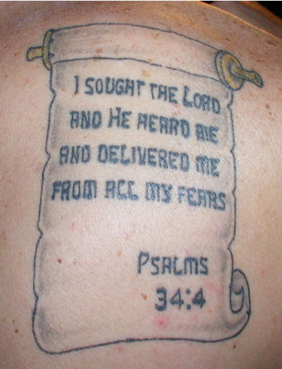 Psalm 34 4 Verse Tattoo On Back Body Ideas And Designs
