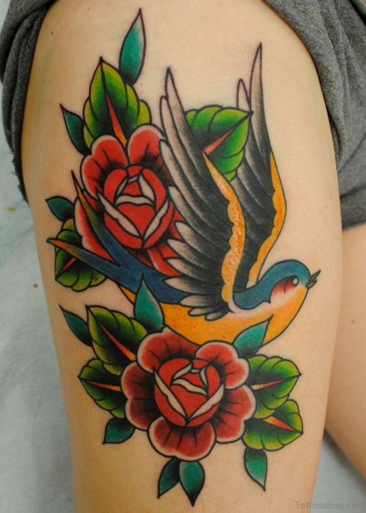 74 Superb Rose Tattoos On Thigh Ideas And Designs